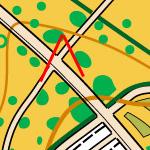 Вузька смужка газону на карті
