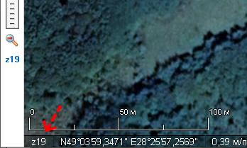 Рівень наближення (zoom) у SAS Planet